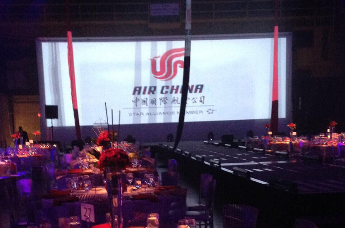Sample experiential event for Air China. Great state setup for keynote speaker.